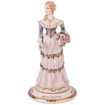 Статуэтка Девушка с Корзинкой с Розами Длина 17 см Высота 33 см - Sabadin Vittorio