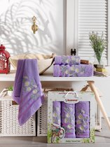 Комп. Пол. JUANNA махр. в короб. (50*90/2)(70*140/1) 3 шт. PAPATYA, цвет лиловый - Meteor Textile