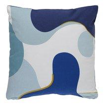 Подушка декоративная из хлопка синего цвета с авторским принтом из коллекции Freak Fruit, 45х45 см - Tkano