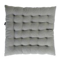 Подушка на стул стеганая из умягченного льна серого цвета, 40х40 см - Tkano