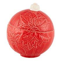 """Емкость с крышкой малая Bordallo Pinheiro """"Новогодние шары"""" 14,5см, красная - Bordallo Pinheiro"""