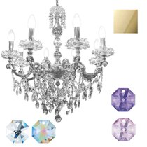 Divo Люстра 8-ми рожковая на подвесе gold swarovski strass (crystal AB, violet, bl violet) - Donolux