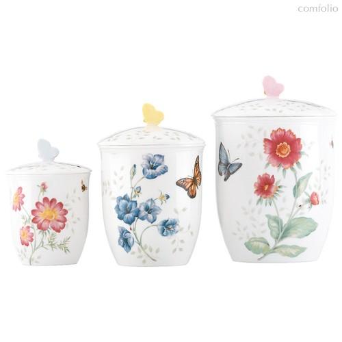 """Набор банок для сыпучих продуктов Lenox """"Бабочки на лугу"""" 15,19,22см, 3шт - Lenox"""