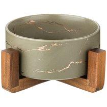 Салатник На Деревянной Подставке Коллекция Золотой Мрамор Цвет: Gray 20,8x20,8x8.5 см - Porcelain Manufacturing Factory