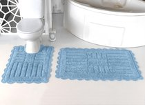 "Набор ковриков для ванной ""MODALIN"" кружевной ANCOR 60x100 + 50x70 см 1/2, цвет светло-голубой, 50x70, 60x100 - Bilge Tekstil"