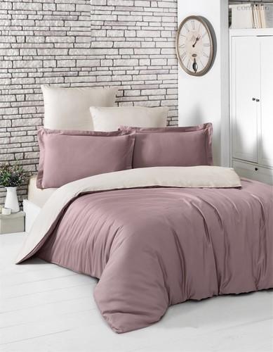 Постельное белье Karna Loft, двухстороннее, цвет бежевый/лиловый, размер 1.5-спальный - Karna (Bilge Tekstil)