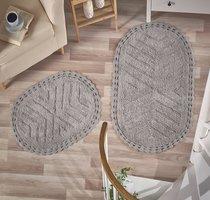 "Набор ковриков для ванной ""MODALIN"" кружевной CROSS 60x100 + 50x70 см 1/2, цвет серый, 50x70, 60x100 - Bilge Tekstil"