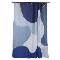 Штора для ванной синего цвета с авторским принтом из коллекции Freak Fruit, 180х200 см - Tkano