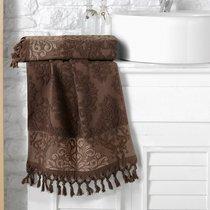 """Полотенце махровое """"KARNA"""" жаккард с бахромой OTTOMAN 40x60 1/1, цвет темно-коричневый, 40x60 - Bilge Tekstil"""