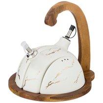 Набор Для Специй 4 Пр. На Деревянной Подставке С Ручкой Коллекция Золотой Мрамор Цвет: White 22x19 - Porcelain Manufacturing Factory