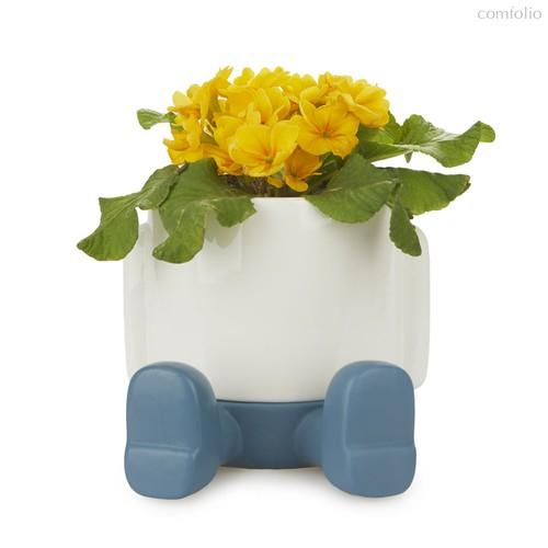Кашпо керамическое для цветов Mr. Sitty синее 20см, цвет синий - Balvi