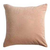 Подушка декоративная из хлопкового бархата цвета пыльной розы из коллекции Essential, 45х45 см - Tkano