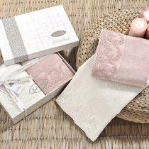 Набор махровых полотенец Karna Elinda (2 шт.), цвет кремовый/пудра, 50x90 - Bilge Tekstil