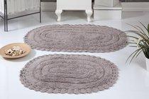 "Набор ковриков для ванной ""MODALIN"" кружевной YANA 60x100 + 50x70 см 1/2, цвет мокко, 50x70, 60x100 - Bilge Tekstil"