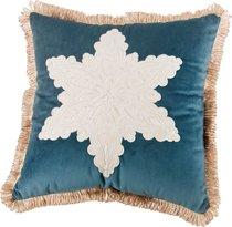 Подушка Декоративная 46x46 см, Снежинка П/Э 100%, Синяя - Santalino