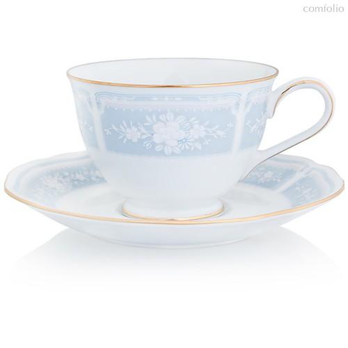 """Набор из 2 чашек чайных с блюдцами 240мл """"Цветы гревиллеи"""" (голубой,золотая отводка) - Noritake"""