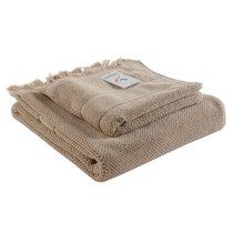 Полотенце банное с бахромой бежевого цвета Essential, 70х140 см - Tkano