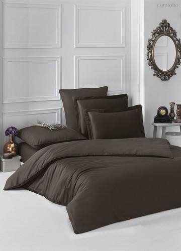 Постельное белье Karna Loft, однотонное, цвет шоколадный, размер 1.5-спальный - Karna (Bilge Tekstil)