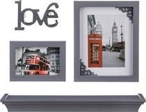 Подарочный Фотонабор Из 4-Пр. Серый Love 46x10, 20x25, 12,5x17 см - Polite Crafts&Gifts