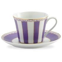 """Чашка чайная с блюдцем 240мл """"Карнавал"""" (лавандовая полоска) п/к, цвет лавандовый - Noritake"""