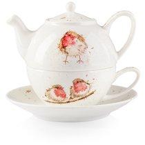 "Набор Эгоист Royal Worcester ""Забавная фауна"",""Малиновка"" (чайник и чашка с блюдцем), 300мл, костяно - Royal Worcester"