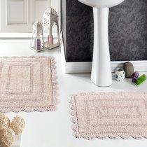 Набор кружевных ковриков Evora, цвет пудра, 50x70, 60x100 - Bilge Tekstil