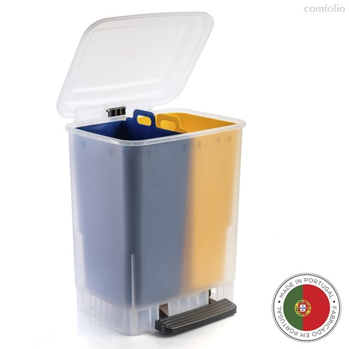Мусорный бак с педалью ECO 20л, желтый-синий, цвет желтый/синий - Faplana