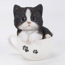 Котенок черный в чашке 13*14.5см - Art Atelier