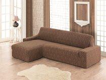 "Чехол на диван угловой левосторонний KARNA ""MILANO"", цвет коричневый - Bilge Tekstil"