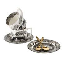 """Набор чашек чайных с блюдцами и чайными ложками Spode """"Черная Италия"""" 280мл, 2шт (лимитированный вып - Spode"""