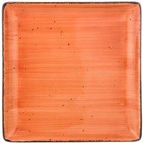 Тарелка Обеденная Квадратная Nature 25 см,Оранжевая 2 шт. - Porcelain Manufacturing Factory