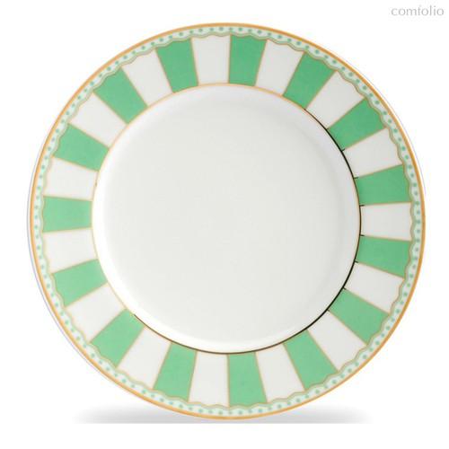 """Тарелка десертная 21см """"Карнавал"""" (зеленая полоска), цвет зеленый - Noritake"""
