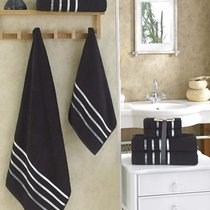 "Комплект махровых полотенец ""KARNA"" BALE 50х80*2-70х140*2 см 1/4, цвет черный, 50x80, 70x140 - Bilge Tekstil"
