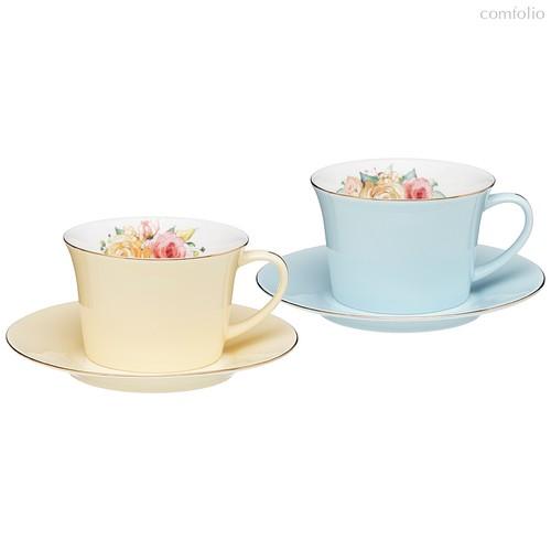 Кофейный Набор Lefard Времена Года 180 мл 4 Пр. На 2 Пер. Голубой-Желтый - Kingensin Porcelain Industrial
