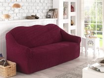 """Чехол для дивана """"KARNA"""" двухместный, без юбки, цвет бордовый - Bilge Tekstil"""