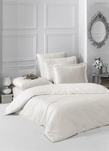 Постельное белье Karna Loft, однотонное, цвет экрю, размер 2-спальный - Karna (Bilge Tekstil)