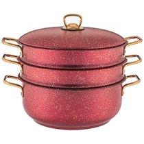 Кастрюля-Мантоварка Agness Red Qeen 28X12/28Х7,3/28Х7,3 см, Трехслойное Покр Granit, Pfoa Free - ISFA Metal Tekstil