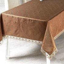 """Скатерть """"KARNA"""" с гипюром """"NIHAN"""" (160х160) см квадратная, цвет коричневый - Bilge Tekstil"""