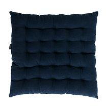 Подушка стеганая на стул из умягченного льна темно-синего цвета Essential, 40х40 см, 40x40 см - Tkano