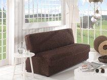 """Чехол для дивана """"KARNA"""" двухместный без подлокотников , без юбки, цвет коричневый - Bilge Tekstil"""