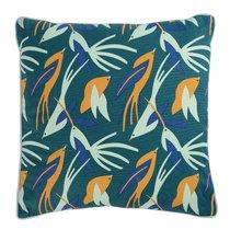Чехол для подушки зеленого цвета с дизайнерским принтом Birds of Nile из коллекции Wild, 45х45 см - Tkano