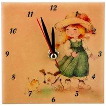 Часы Милые Девочки: На Прогулке 10x10 см - ГлассМун