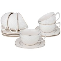 Чайный Набор На 6 Персон Диаманд Голд Квадрат 12 Пр. 350 мл - Shunxiang Porcelain