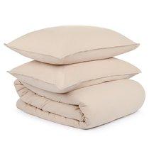 Комплект постельного белья полутораспальный бежевого цвета из органического стираного хлопка из коллекции Essential - Tkano