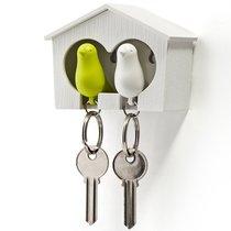 Держатель для ключей двойной Sparrow белый-зеленый - Qualy
