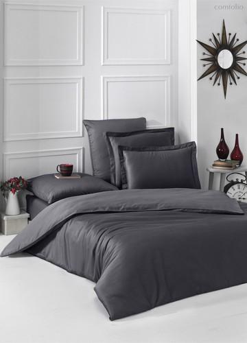 Постельное белье Karna Loft, однотонное, цвет темно-серый, размер 2-спальный - Karna (Bilge Tekstil)