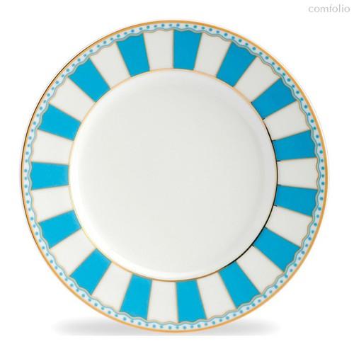 """Тарелка десертная 21см """"Карнавал"""" (голубая полоска), цвет голубой - Noritake"""