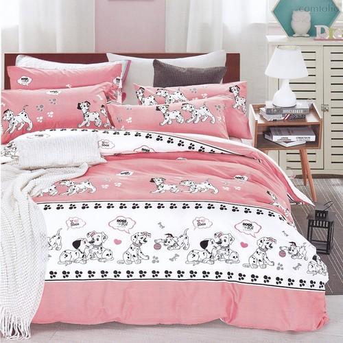 Постельное белье Karna Delux Dalmatian, подростковое, цвет розовый, 1.5-спальный - Karna (Bilge Tekstil)