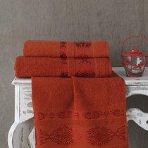 Полотенце махровое Karna Rebeka, цвет кирпичный, размер 70x140 - Karna (Bilge Tekstil)