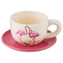Чашка с блюдцем фламинго 210 мл 13,2x13,2x7 см - Lefard